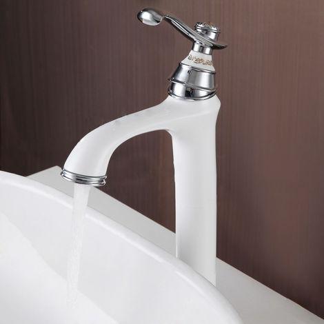 Grifo para lavabo con relieve estilo vintage Cromo blanco