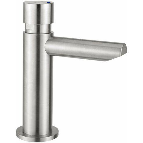 Grifo para lavabo de acero inoxidable con parada 15 segundos temporizada Idral Inox 08410 | Normal - 15 Sec