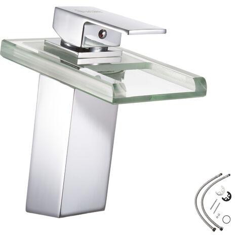 Grifo para lavabo de baño con caño de agua en 3 colores - grifo para baño de latón cromado y cristal, grifo para lavabo con cartucho cerámico y latiguillos, grifo con luces LED varios colores - gris