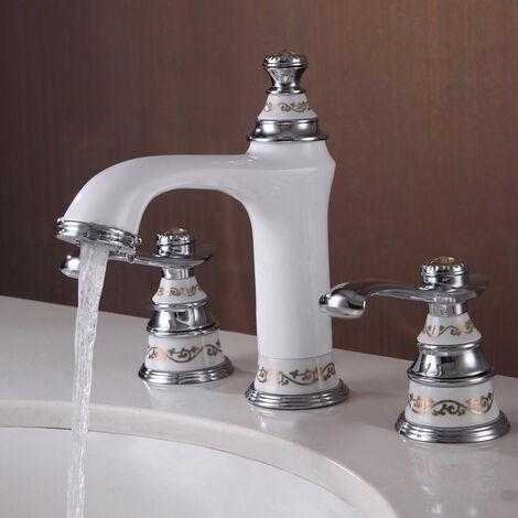 Grifo para lavabo de latón macizo de estilo tradicional Blanco