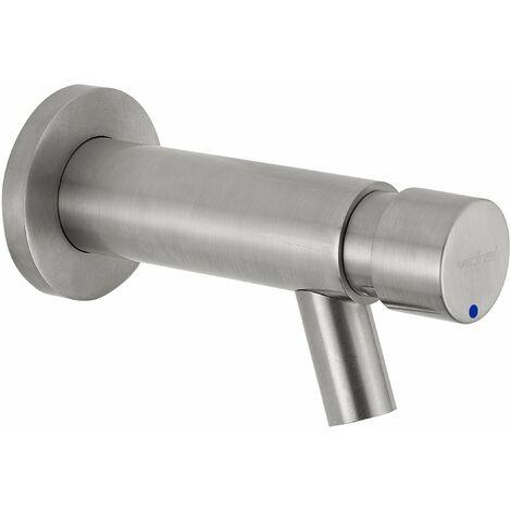 Grifo para lavabo de pared con cronómetro y mando por pulsador Idral Inox 08400 | Acero