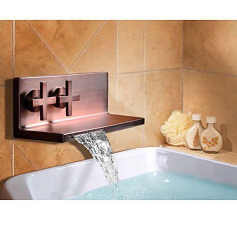 Grifo para lavabo de pared con diseño de estante, un grifo con dos asas y acabado en bronce frotado con aceite