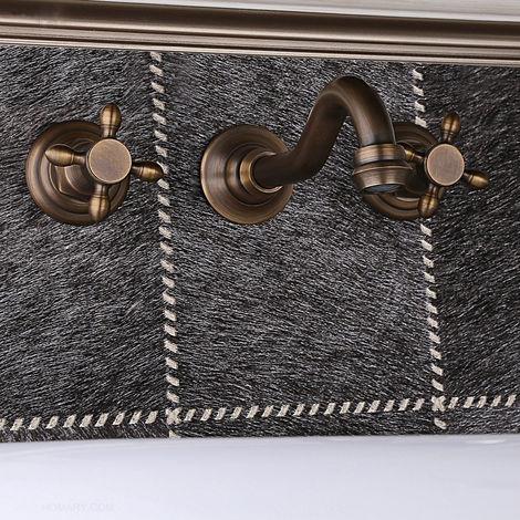Grifo para lavabo de pared de estilo vintage en bronce
