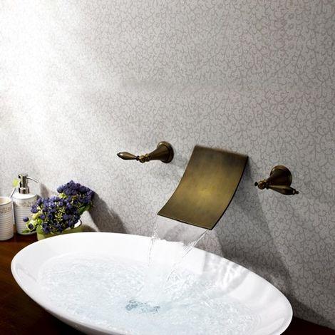 Grifo para lavabo de pared moderno con dos asas con caño de bronce en cascada