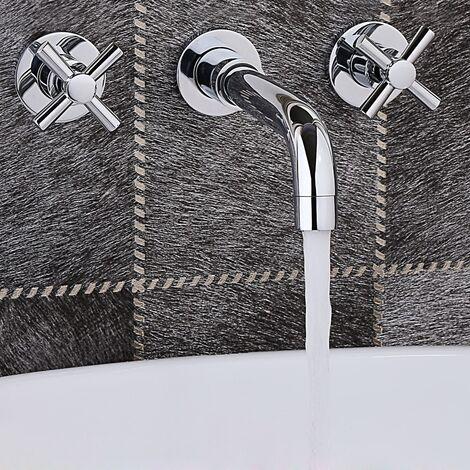 Grifo para lavabo de pared moderno con dos asas en latón macizo y cromo pulido