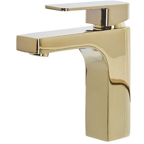 Grifo para lavabo dorado IRUPU