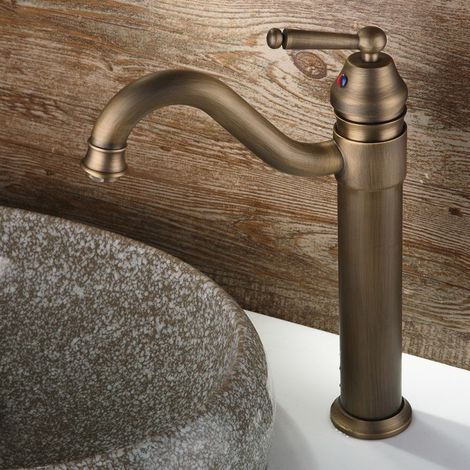Grifo para lavabo elevado estilo retro con caño alargado Negro antiguo