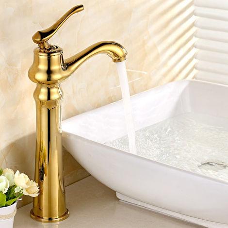Grifo para lavabo elevado tradicional en forma de tetera de oro rosa