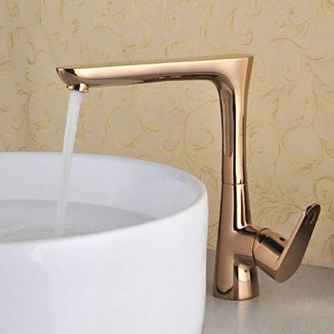 Grifo para lavabo estilo antiguo color oro rosa, grifo giratorio monomando
