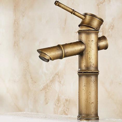 Grifo para lavabo estilo vintage en forma de bambú Negro antiguo