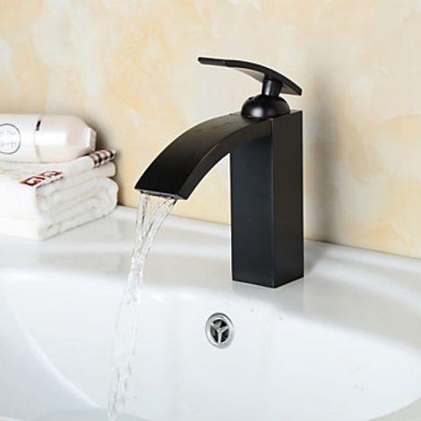 Grifo para lavabo moderno con acabado negro mate, altura 180 mm