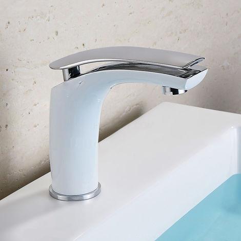 Grifo para lavabo monomando moderno en varios acabados Blanco