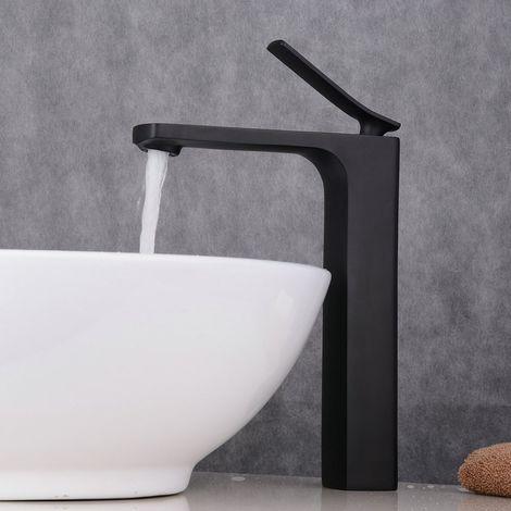 Grifo para lavabo negro mate estilo mono agujero elegante