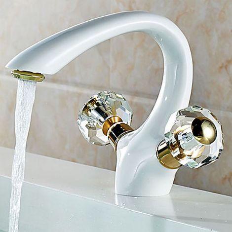 Grifo para lavabo pintado de blanco y equipado con dos asas de cristal, estilo contemporáneo