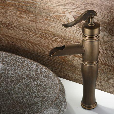 Grifo para lavabo tradicional elevado en forma de bomba Negro antiguo
