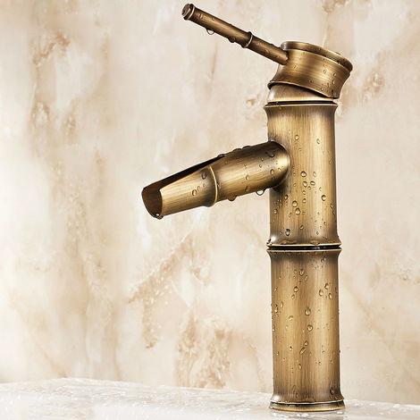 Grifo para lavabo tradicional en forma de bambú bronce