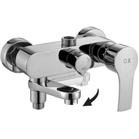 Grifo termostático cuadrado para columna de ducha fabricado en latón macizo y acabado en cromo brillo Kibath