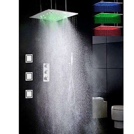 Grifo termostático de ducha con cabezal de ducha de níquel cepillado