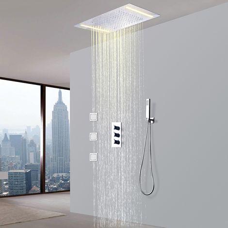 Grifo termostático de ducha con ducha fija incorporada