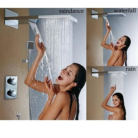 Grifo termostático de ducha con efecto cascada y lluvia