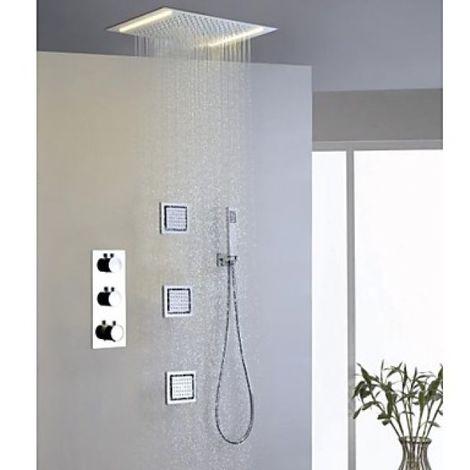 Grifo termostático de ducha con hidromasaje incorporado.