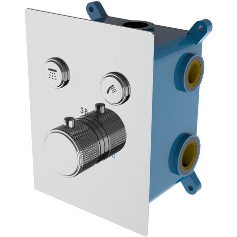 Grifo termostático de ducha empotrar redondo pared. Con 2 vías, desviador cuadrado cerámico. Incluye brazo de ducha, soporte con toma, flexo y rociador Kibath