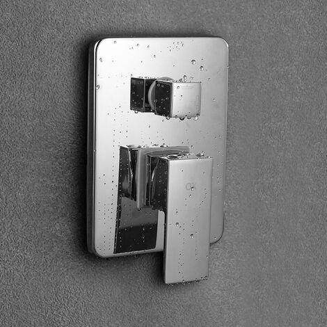 Grifo termostático de ducha Empotrar redondo techo. Incluye brazo de ducha, soporte con toma de agua, flexo de acero inoxidable y rociador extraplano Kibath