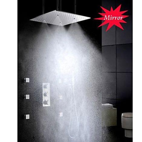 Grifo termostático de ducha montado en el techo negro