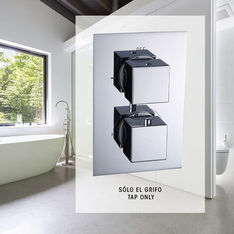 Grifo termostático de ducha para empotrar ABE. Salida de 2 vías: Rociador superior y ducha de mano. Ducha empotrable con acabado cuadrado en cromo brillo fabricada en latón Kibath