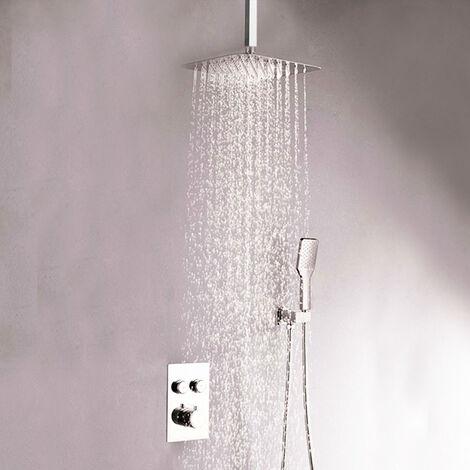 Grifo termostático ducha para empotrar 2 VIAS PUL salida techo. Incluye soporte con toma agua, flexo acero inox., brazo ducha y rociador extraplano. Ducha empotrable con acabado redondeada Kibath