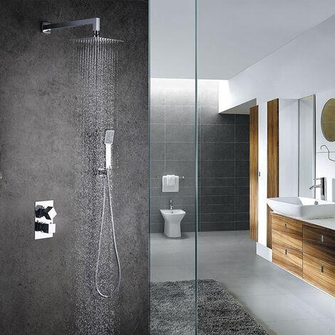Grifo termostático ducha para empotrar ABE salida pared. Incluye soporte con toma agua, flexo PVC plateado, brazo ducha y rociador extraplano. Ducha empotrable con acabado cuadrado en cromo brillo Kibath
