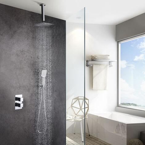 Grifo termostático ducha para empotrar ABE salida techo. Incluye soporte con toma agua, flexo PVC plateado, brazo ducha y rociador extraplano. Ducha empotrable con acabado cuadrado en cromo brillo Kibath