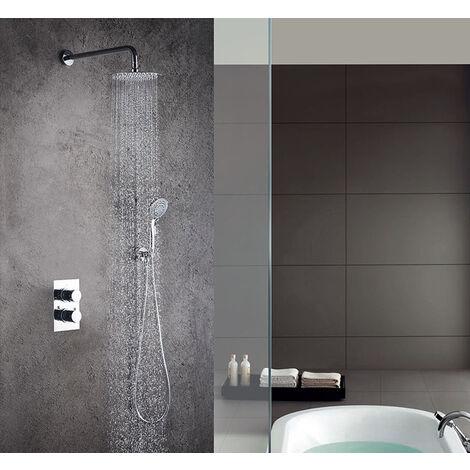 Grifo termostático ducha para empotrar PO salida pared. Incluye soporte con toma agua, flexo PVC plateado, brazo ducha y rociador extraplano. Ducha empotrable con acabado redondeada en cromo brillo Kibath