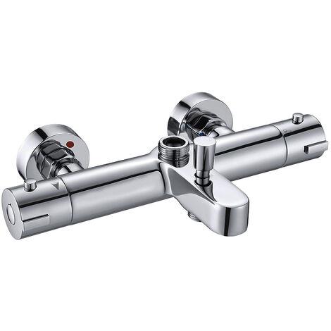Grifo termostático para columna de ducha BUS fabricado en latón macizo y acabado en cromo brillo Kibath