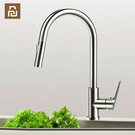 Grifos del fregadero del lavabo de la cocina del acero inoxidable de la marca Viomi Extraiga el grifo del aireador del soporte de la cubierta Mezclador de agua fría caliente de una sola manija de Xiaomi Youpin