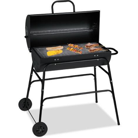 Grill à charbon XXL, chariot de grill avec couvercle, aération réglable, stable,HlP: 96,5 x 103 x64,5 cm noir