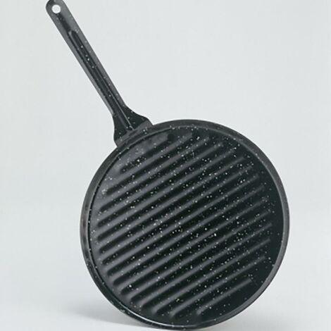 Grill Cocina Plancha Rayas Con Mango 24X24Cm Hierro Vitrificado La Ideal 20024