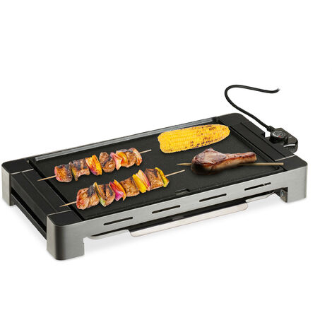Grill électrique intérieur, plancha maison, plaque de cuisson amovible, 1500 W, surface 42x27 cm, noir