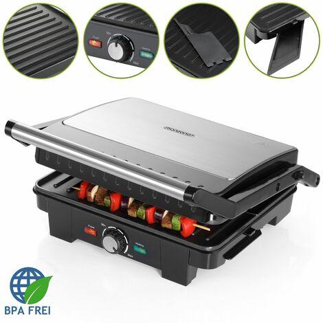 Grill électrique multifonction avec thermostat Grille-viande Presse à paninis Sandwich Plancha Barbecue de table 34x33,5x13cm 2200W