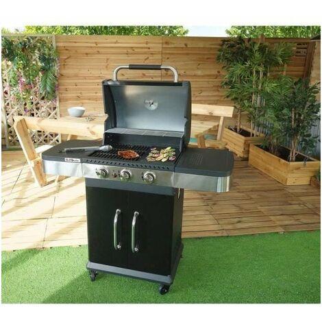 GRILL GARDEN Barbecue a gaz 3 brûleurs - Fonte émaillée - 51 x 39,5 cm - Noir