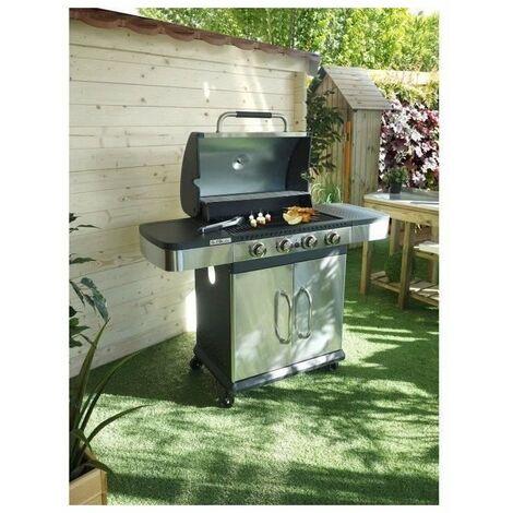 GRILL GARDEN Barbecue a gaz 4 brûleurs - Fonte émaillée - 62 x 39,5 cm - Inox