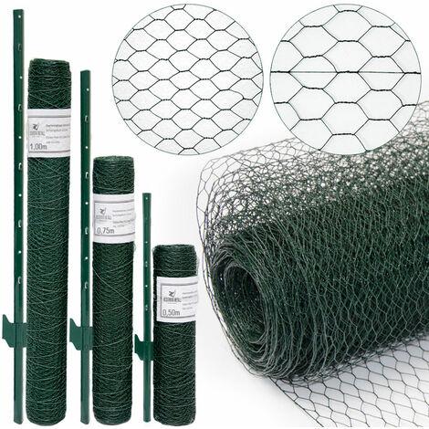 Grillage à mailles hexagonales + Poteaux | Rouleau de 10m | Hauteur 0,75m | Maillage 13x13mm | Incl 8 Poteaux 105cm de haut | Grillage métallique avec revêtement en PVC vert | idéal pour animaux et plantes