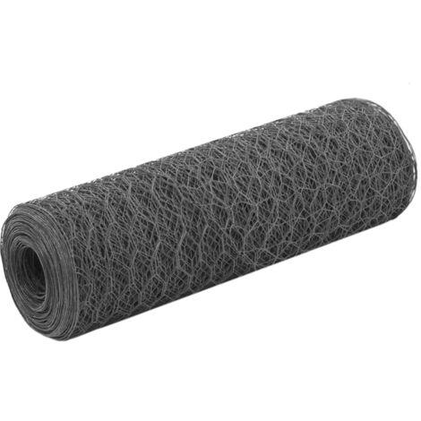 Grillage Acier avec revêtement en PVC 25x0,5 m Hexagonal Gris