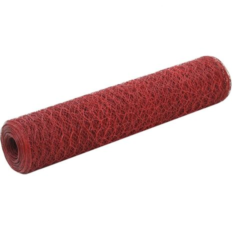 Grillage Acier avec revêtement en PVC 25x0,75 m Rouge