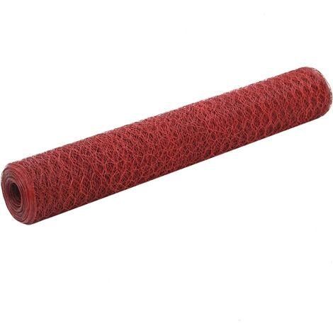 Grillage Acier avec revêtement en PVC 25x1 m Rouge