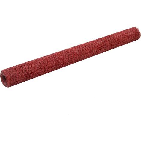 Grillage Acier avec revêtement en PVC 25x1,5 m Rouge