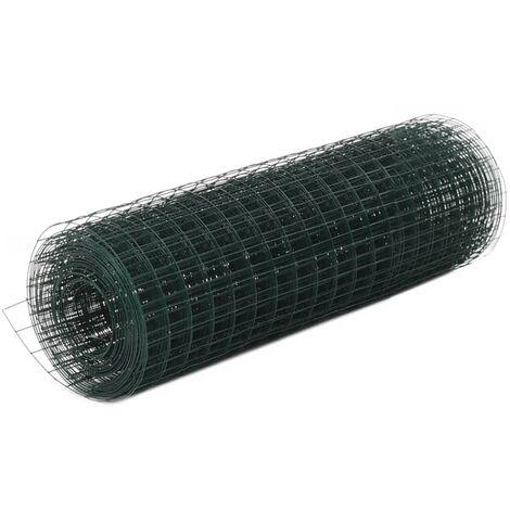 Grillage Acier avec revêtement pour des clôtures pour la construction de volières ou de cages en PVC 10x0,5 m Vert
