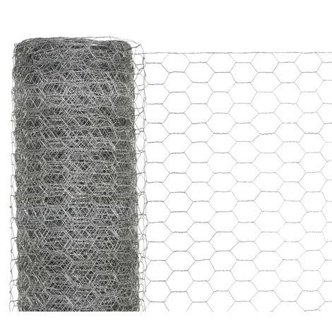 Grillage Acier galvanise 25 x 1,5 m Hexagonal Argente