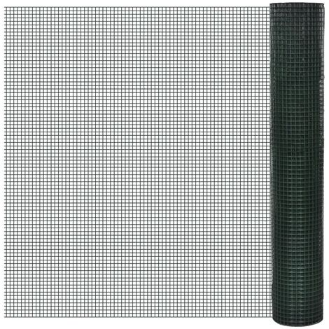 Grillage Acier galvanisé et revêtement en PVC 10 x 1 m Vert