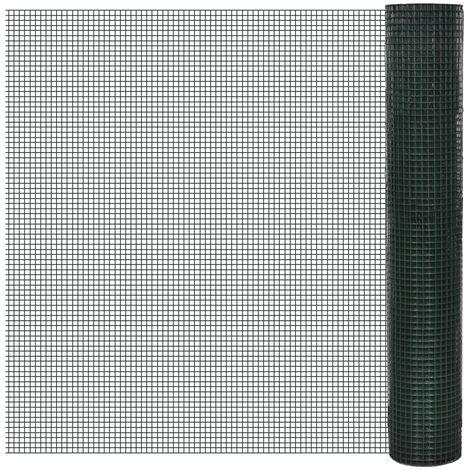 Grillage Acier galvanisé et revêtement en PVC Grillage de jardin 25 x 1 m Vert